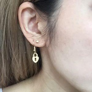 HOT ITEM BNWT Gold heart lock earrings